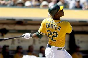 Carter's homer caps 5-run 6th as A's beat Angels