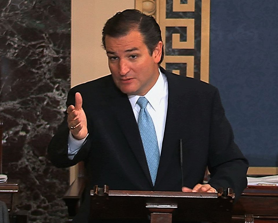 This image from Senate video show Sen. Ted Cruz, R-Texas, speaking on the Senate floor at the U.S. Capitol in Washington, Tuesday, Sept. 24, 2013. Cruz says he will speak until he's no longer able to stand in opposition to President Barack Obama's health care law. Cruz began a lengthy speech urging his colleagues to oppose moving ahead on a bill he supports. The measure would prevent a government shutdown and defund Obamacare. (AP Photo/Senate TV)