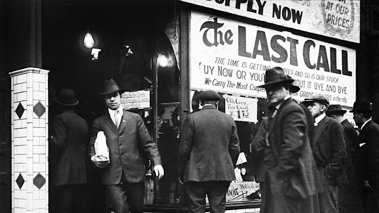 "Citizens of Detroit heeding a ""last call"" in the final days before Prohibition went into effect in 1920 as seen on ""Prohibition."""