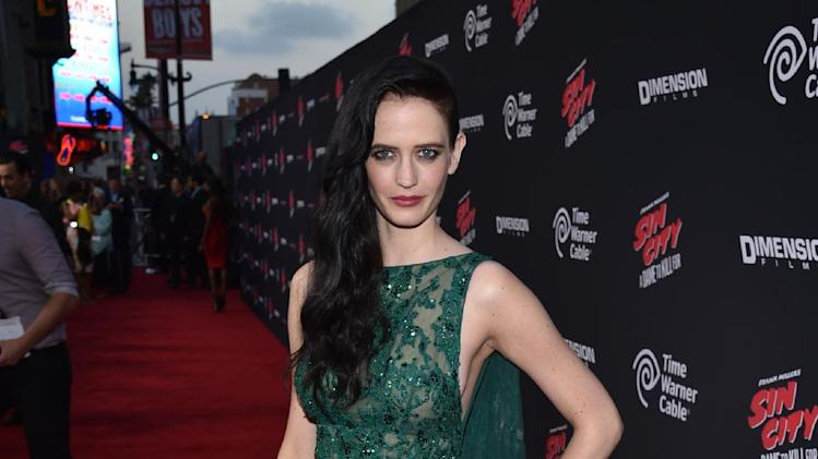 "Eva Green arrives at the ""Sin City: A Dame to Kill For"" premiere presented by Dimension Films in partnership with Time Warner Cable, Dodge and DeLeon Tequila at TCL Chinese Theatre on Tuesday, August 19, 2014, in Los Angeles. (Photo by John Shearer/Invision for The Weinstein Company/AP Images)"