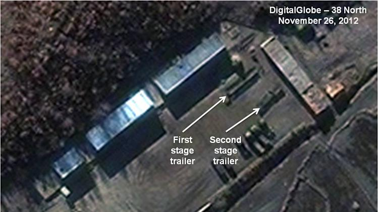 This Monday Nov. 26, 2012 satellite image provided by DigitalGlobe and annotated by 38 North, the website of the U.S.-Korea Institute at Johns Hopkins School of Advanced International Studies, shows the Sohae Satellite Launch Station in Cholsan County, North Pyongan Province, North Korea. According to analysis done for 38 North, North Korea has moved two sections of a long-range rocket at the site in preparation for a launch that would alarm both its adversaries and lone ally China. SAIS says recent activity at the Sohae site suggests it could be ready to blast-off a three-stage rocket by the end of the first week in December. (AP Photo/DigitalGlobe via 38 North)