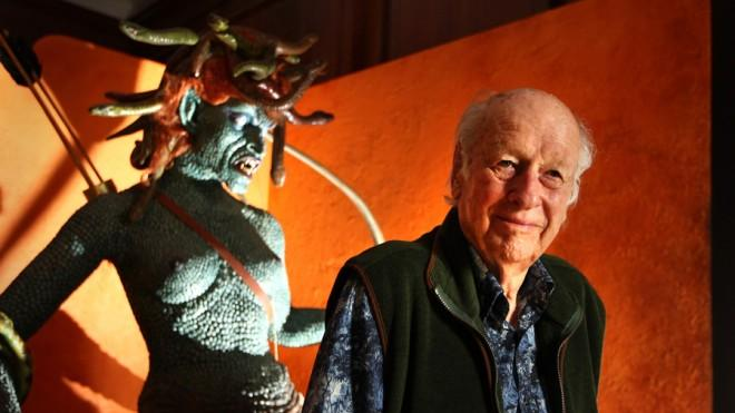 Special effects creator Ray Harryhausen poses next to the enlarged model of Medusa from his 1981 film Clash of the Titans in 2010.