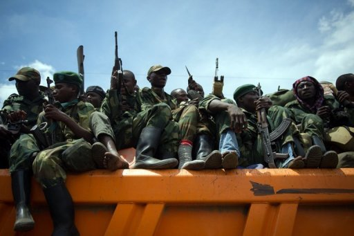 <p>M23 rebels withdraw from the city of Goma, in the east of the Democratic Republic of Congo, last December. Rebels in the volatile east of the Democratic Republic of Congo face a deadline Thursday to lay down their arms, but they have dismissed the UN peacekeepers' ultimatum as irrelevant.</p>