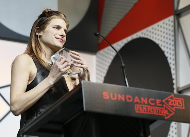 Director, writer and cast member Lake Bell accepts her U.S. Dramatic Waldo Salt Screenwriting Award for &quot;In A World...&quot; during the 2013 Sundance Film Festival Awards Ceremony on Saturday, Jan. 26, 201