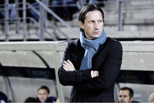 RB Salzburg's coach Roger Schmidt  during the Europa League group C soccer match against Esbjerg fB, Thursday, Oct. 3, 2013 in Esbjerg, Denmark