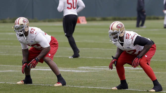San Francisco 49ers linebackers NaVorro Bowman (53) and Patrick Willis (52) practice at an NFL football training facility in Santa Clara, Calif., Wednesday, Jan. 23, 2013. The 49ers are scheduled to play the Baltimore Ravens in Super Bowl XLVII on Sunday, Feb. 3. (AP Photo/Jeff Chiu)