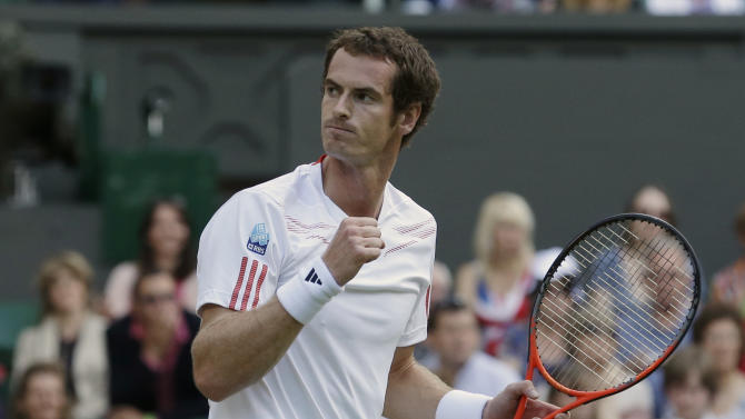 Andy Murray of Britain reacts during a semifinals match against Jo-Wilfried Tsonga of France at the All England Lawn Tennis Championships at Wimbledon, England, Friday, July 6, 2012. (AP Photo/Anja Niedringhaus)