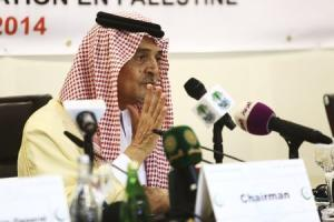 Saudi Foreign Minister Prince Saud al-Faisal addresses a news conference following a meeting of the Organisation of Islamic Cooperation (OIC), on the situation in the Gaza Strip, in Jeddah