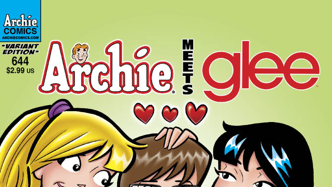 """This comic book image released by Archie Comic Publications, Inc. shows Archie's character Veronica, left, and Betty, right, with Glee character Artie Abrams on the cover of one of the """"Archie Meets Glee,"""" issues.  Roberto Aguirre-Sacasa, who writes for """"Glee"""", penned the four-issue story arc """"Archie Meets Glee"""" that sees Riverdale and McKinley cross dimensions in a crossover crash that blends the snark of the television show and the long-standing wholesomeness of Archie, Jughead and Betty, among others. The two worlds combine this week in the pages of """"Archie Comics"""" No. 641 and extends through issue 644. (AP Photo/Archie Comic Publications, Inc.)"""