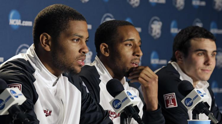 Temple players, from left,, Khalif Wyatt, Rahlir Hollis-Jefferson, and T.J. DiLeo, answer questions during a news conference at the NCAA college basketball tournament, Saturday, March 23, 2013, in Dayton, Ohio.  Temple plays Indiana in the third round on Sunday. (AP Photo/Al Behrman)