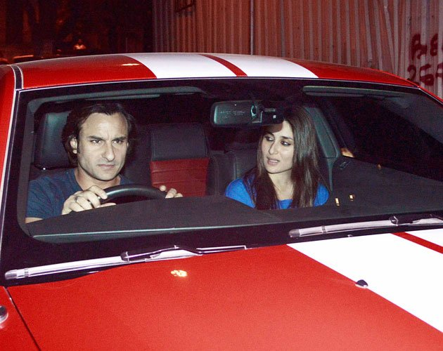 Saif, Bebo and their swanky red car