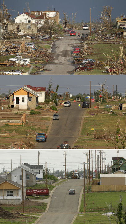 This three-photo combo shows a scene taken on May 23, 2011, top, July 21, 2011, center, and May 7, 2012, bottom, shows progress made in Joplin, Mo. in the year after an EF-5 tornado destroyed a large 