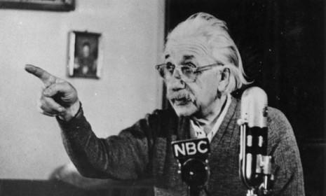 Albert Einstein records a lecture in Jan., 1955, just four months before his death: The venerable scientist's brain was removed just hours after he passed for analysis.