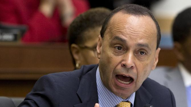 House Judiciary Committee member Rep. Luis Gutierrez, D-Ill. speak on Capitol Hill in Washington, Tuesday, June 18, 2013, during the committee's hearing to discuss the Strengthen and Fortify Enforcement Act. The committee in the Republican-led House is preparing to cast its first votes on immigration this year, on a tough enforcement-focused measure that Democrats and immigrant groups are protesting loudly. (AP Photo/Carolyn Kaster)