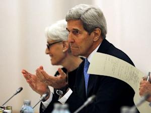 U.S. Secretary of State John Kerry meets with foreign…