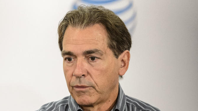 Alabama football coach Nick Saban talks with the media, Monday, Oct. 20, 2014, at the Naylor Stone Media Suite in the Mal Moore Athletic Facility in Tuscaloosa, Ala