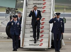 President Obama arrives at JFK Airport in New York, Tuesday, Sept. 18, 2012. (AP)