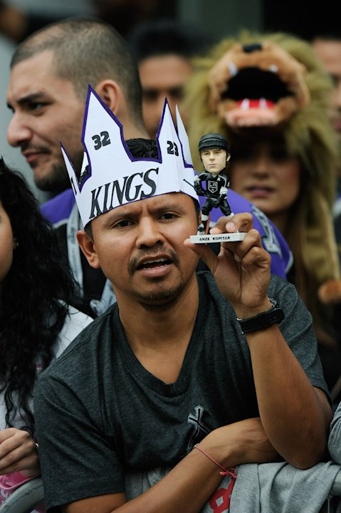 Hugo Miranda Hold An Anze Kopitar Bobble Head Doll  Getty Images