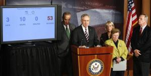 Schumer, Reid, Murray, Mikulski and Durbin hold a news conference after the Senate passed a spending bill to avoid a government shutdown, in Washington