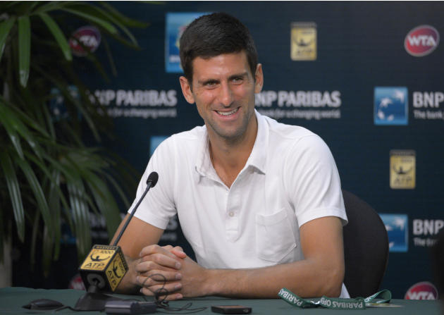 Novak Djokovic, of Serbia, speaks during a news conference at the BNP Paribas Open tennis tournament Friday, March 7, 2014, in Indian Wells, Calif. (AP Photo/Mark J. Terrill)