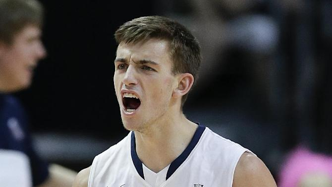 Gonzaga's David Stockton reacts after a BYU turnover in the first half of the NCAA West Coast Conference tournament championship college basketball game, Tuesday, March 11, 2014, in Las Vegas