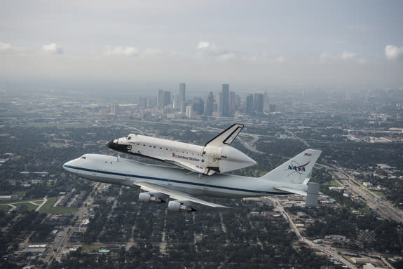 Space Shuttle Endeavour Leaves Houston on Last Journey West