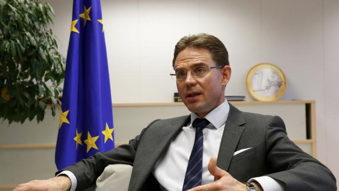 European Commission Vice-President Katainen, responsible for Jobs, Growth, Investment and Competitiveness, speaks during a Reuters interview in Brussels