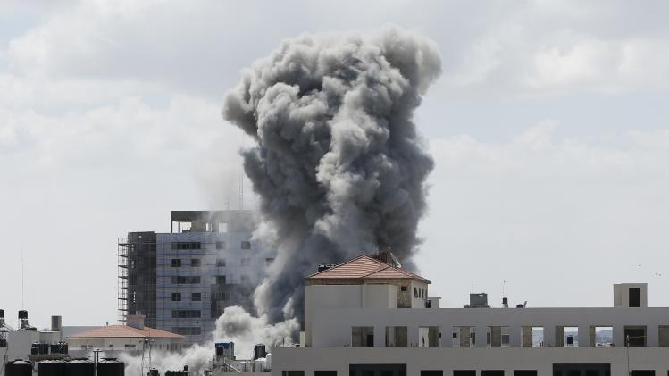 Smokes rises following what witnesses said was an Israeli air strike in Gaza City