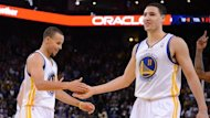 Stephen Curry (left) and Klay Thompson of Golden State Warriors