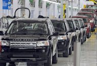 Land Rover Freelander II SUV vehicles, pictured on an assembly line in 2011. India's top auto industry body slashed its full-year car sales growth forecast to the low single digits as a slowing economy and high fuel costs keep customers out of showrooms