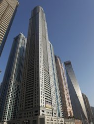 A picture taken on May 21, 2012 shows Dubai's recently constructed Princess Tower (C)