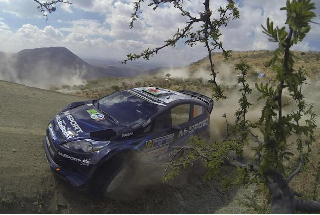 M-Sport World Rally team driver Elfyn Evans and co-driver Daniel Barrit, both from England, compete in the FIA World Rally on the outskirts of Leon, Mexico, Saturday, March 8, 2014