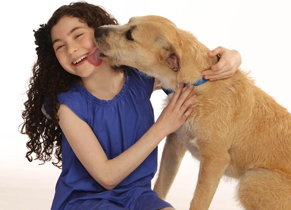 "This photo provided by Boneau/Bryan-Brown shows Lilla Crawford, who will play the role of Annie, and ""Sunny"" who will play the role of Sandy, in the new Broadway production of Annie.    Previews begin October 3 and opening night is November 8 at the Palace Theatre.  (AP Photo/Boneau/Bryan-Brown, Joan Marcus)"