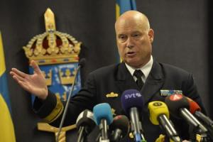 Swedish Rear Admiral Grenstad speaks during a news …