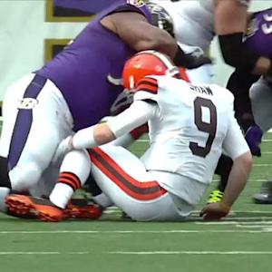 Baltimore Ravens recover Cleveland Browns quarterback Connor Shaw's fumble
