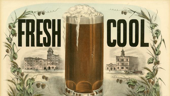 """This undated photo provided by the New-York Historical Society shows a Currier & Ives color lithograph """"Fresh Cool Lager Beer,"""" dated 1877-1894, which will be a part of the uncoming exhibit """"Beer Here,"""" featuring a small beer hall and the chance to try a selection of New York City and state artisanal beers. (AP Photo/ New-York Historical Society)"""