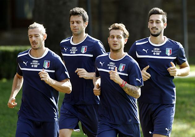 Italian national soccer team players, from left, Federico Balzaretti of A.S. Roma, Thiago Motta of F.C. Paris Saint Germain, Alessandro Diamanti of F.C. Bologna, and Davide Astori of Cagliari Calcio,