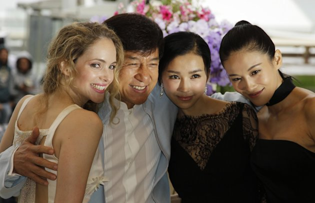 From left, Actress Laura Weissbecker, director Jackie Chan, actresses Yao Xingtong, and Zhang Nan Xin during a photo call for Chinese Zodiac at the 65th international film festival, in Cannes, southern France, Friday, May 18, 2012. (AP Photo/Francois Mori)