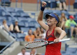 Hantuchova of Slovakia celebrates her win over Riske of the U.S. at the U.S. Open tennis championships in New York