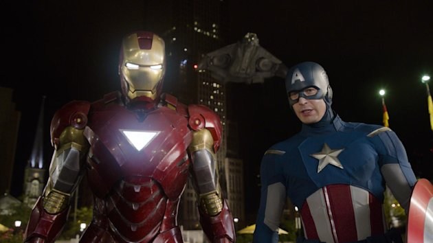 "FILE - This file photo of a film image released by Disney shows Iron Man, portrayed by Robert Downey Jr., left, and Captain America, portrayed by Chris Evans, in a scene from ""The Avengers."" Studios have released a familiar assortment of action tales, family flicks and star-driven comedy since the summer-blockbuster season began in early May. Yet while overall business has been solid, fans have been choosier than usual, spending a fortune on one superhero sensation, kicking in for a handful of midline hits and generally bypassing everything else. (AP Photo/Disney, File)"