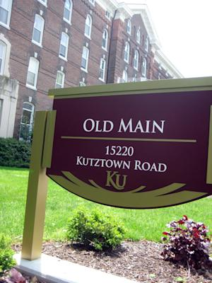 This Friday, May 10, 2013 photo shows a sign on the Kutztown University campus in Kutztown, Pa. Kutztown is one of at least five Pennsylvania state-owned universities now allowing guns on campus. (AP Photo/Michael Rubinkam)