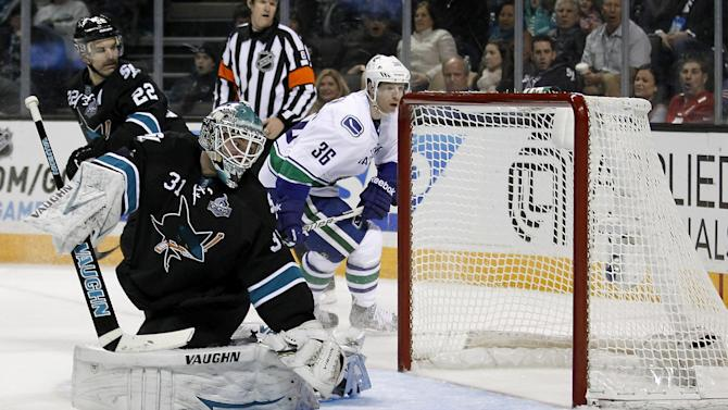 San Jose Sharks goalie Antti Niemi (31), of Finland, looks back into the net after Vancouver Canucks center Alex Burrows, not seen, scored a goal during the second period of an NHL hockey game in San Jose, Calif., Sunday, Jan. 27, 2013. (AP Photo/Tony Avelar)