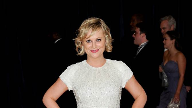 """Actress Amy Poehler from the NBC series """"Parks and Recreation"""" attends the White House Correspondents' Dinner at the Washington Hilton on Saturday April 27, 2013 in Washington. (Photo by Evan Agostini/Invision/AP)"""