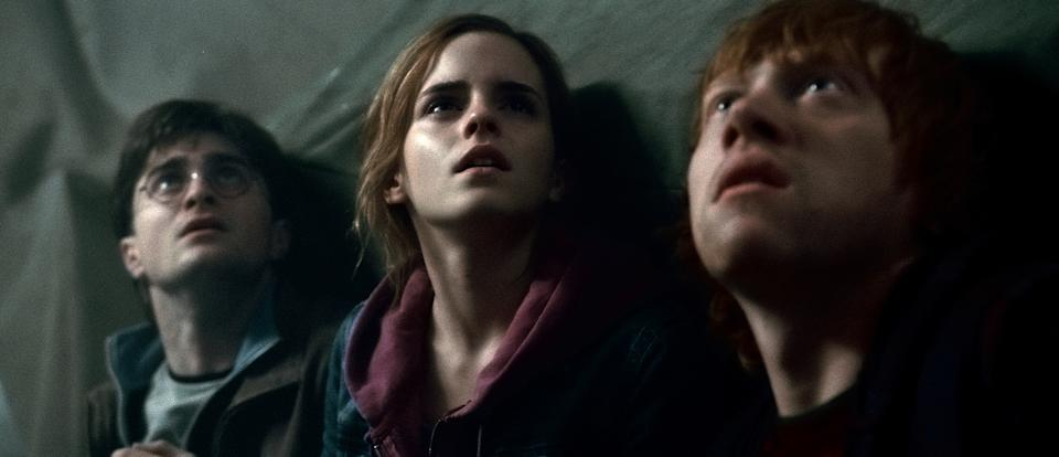 "In this film publicity image released by Warner Bros. Pictures, from left, Daniel Radcliffe, Emma Watson and Rupert Grint are shown in a scene from ""Harry Potter and the Deathly Hallows: Part 2."" (AP Photo/Warner Bros. Pictures)"