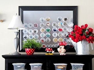 Store craft supplies on magnet board