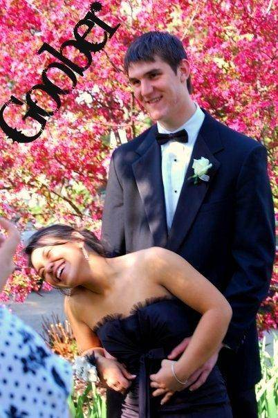 """The """"goober"""" couple (pictured here at their 2009 prom) clearly make each other laugh. And before his romantic proposal, he stashed the ring where she wouldn't find it. """"He hid the ring on top of the kitchen cabinet where I couldn't reach,"""" she said."""