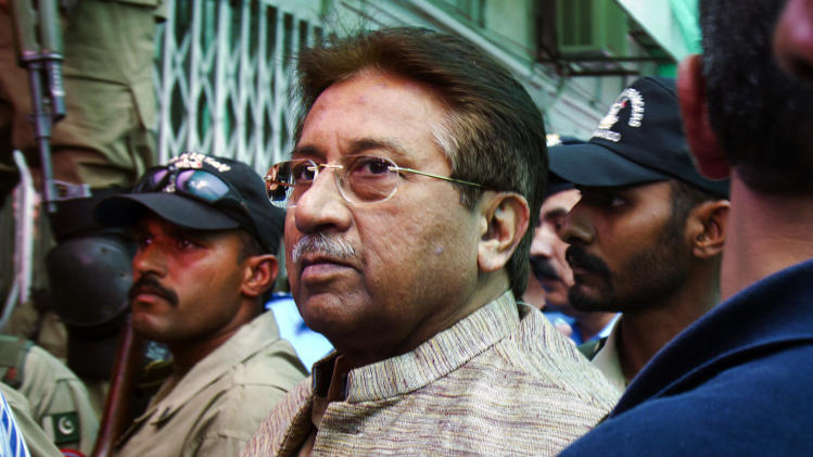 FILE - In this April 20, 2013, file photo, Pakistan's former President and military ruler Pervez Musharraf arrives at an anti-terrorism court in Islamabad, Pakistan. Prime Minister Nawaz Sharif said Monday, June 24, 2013, Musharraf, who ousted him in a coup over a decade ago should be tried for treason. (AP Photo/Anjum Naveed, File)