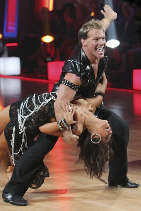"Chris Jericho and Cheryl Burke perform the Cha-Cha-Cha on ""Dancing with the Stars."""
