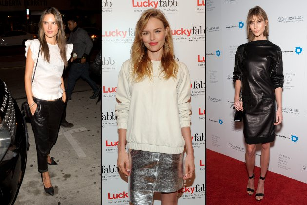 Alessandra Ambrosio, Kate Bosworth und Karlie Kloss in Baggy-Leder. (Bilder: Splash News (1), Getty Images (2))