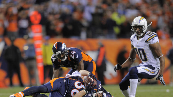 Denver Broncos free safety Jim Leonhard (36) intercepts a pass as cornerback Champ Bailey (24) and San Diego Chargers wide receiver Malcom Floyd (80) look on in the fourth quarter of an NFL football game against the, Sunday, Nov. 18, 2012, in Denver. (AP Photo/Jack Dempsey)